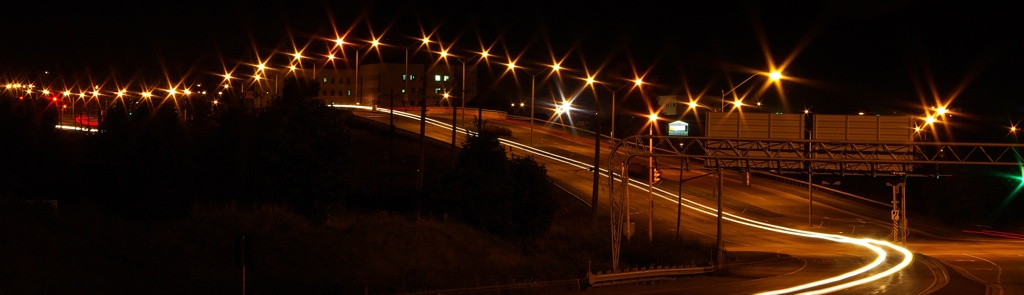 time lapse photograph of Sir John A MacDonald overpass at night