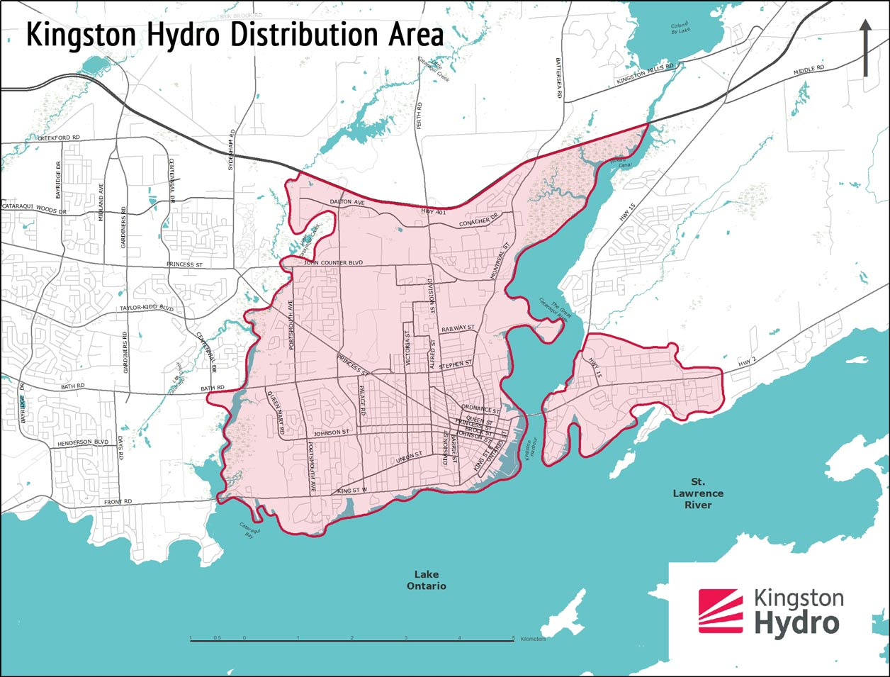 map of the Kingston Hydro distribution area