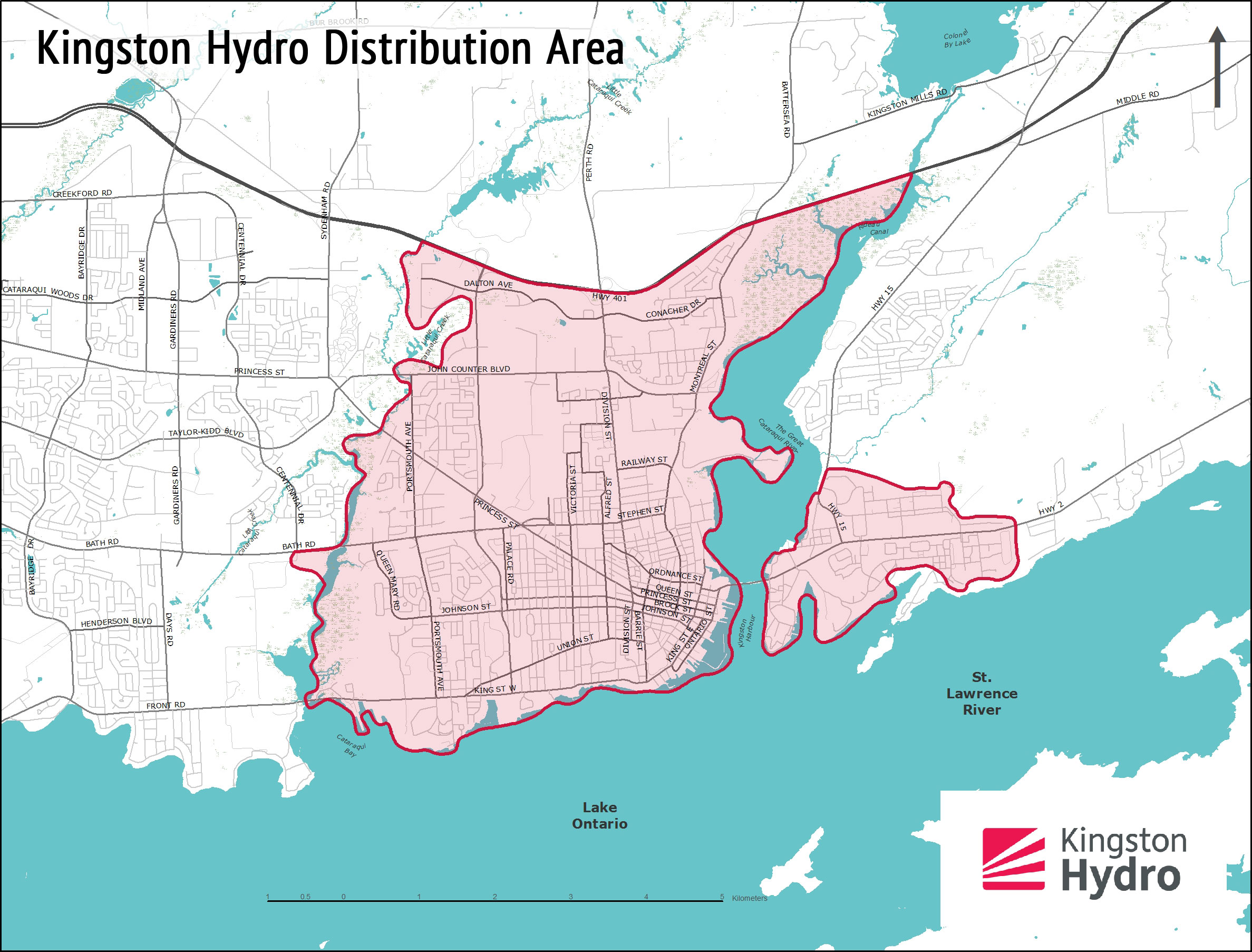 Map Of Kingston Distribution Area   Kingston Hydro Map Of Kingston